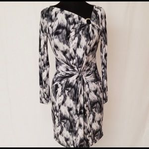 Michael Kota Dress - white and gray NWOT